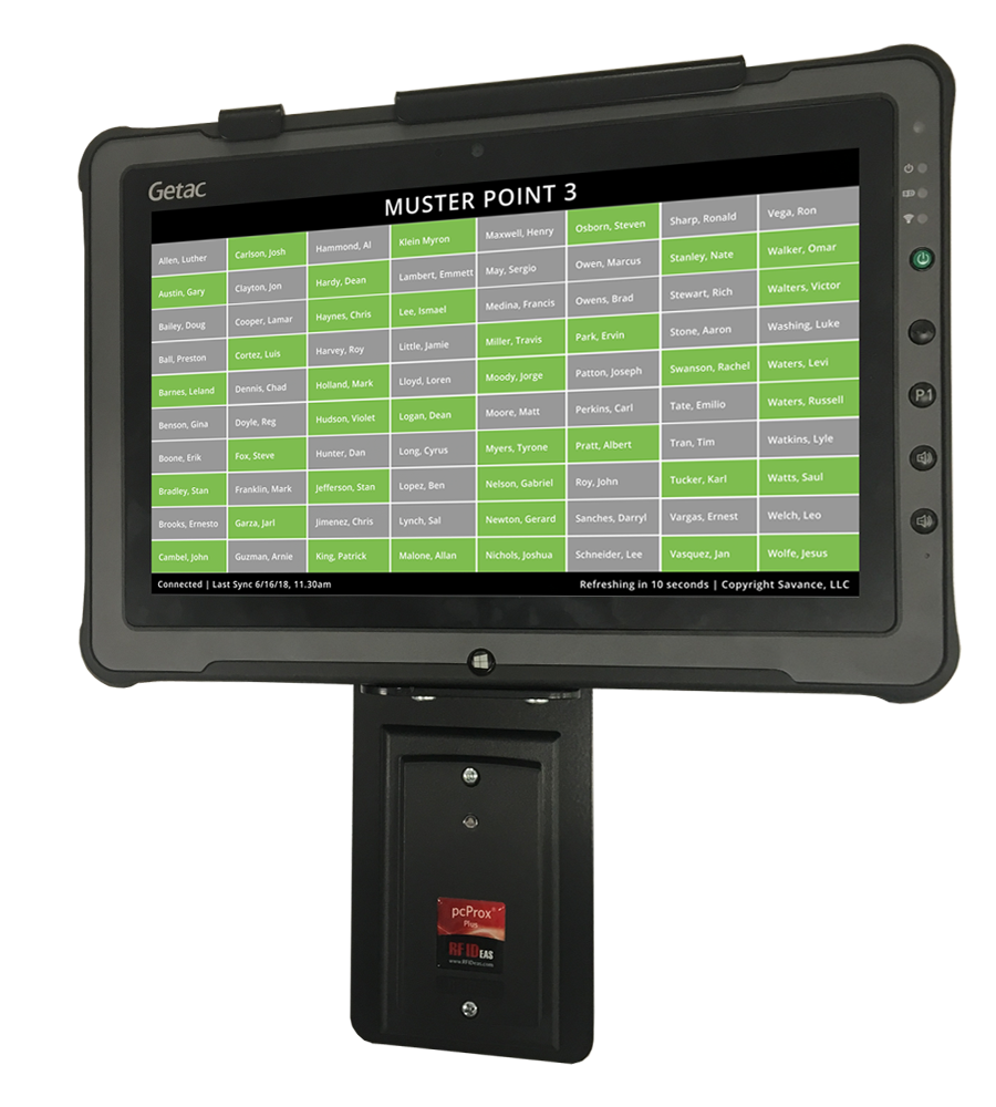 Custom rugged muster tablet with reader and PoE