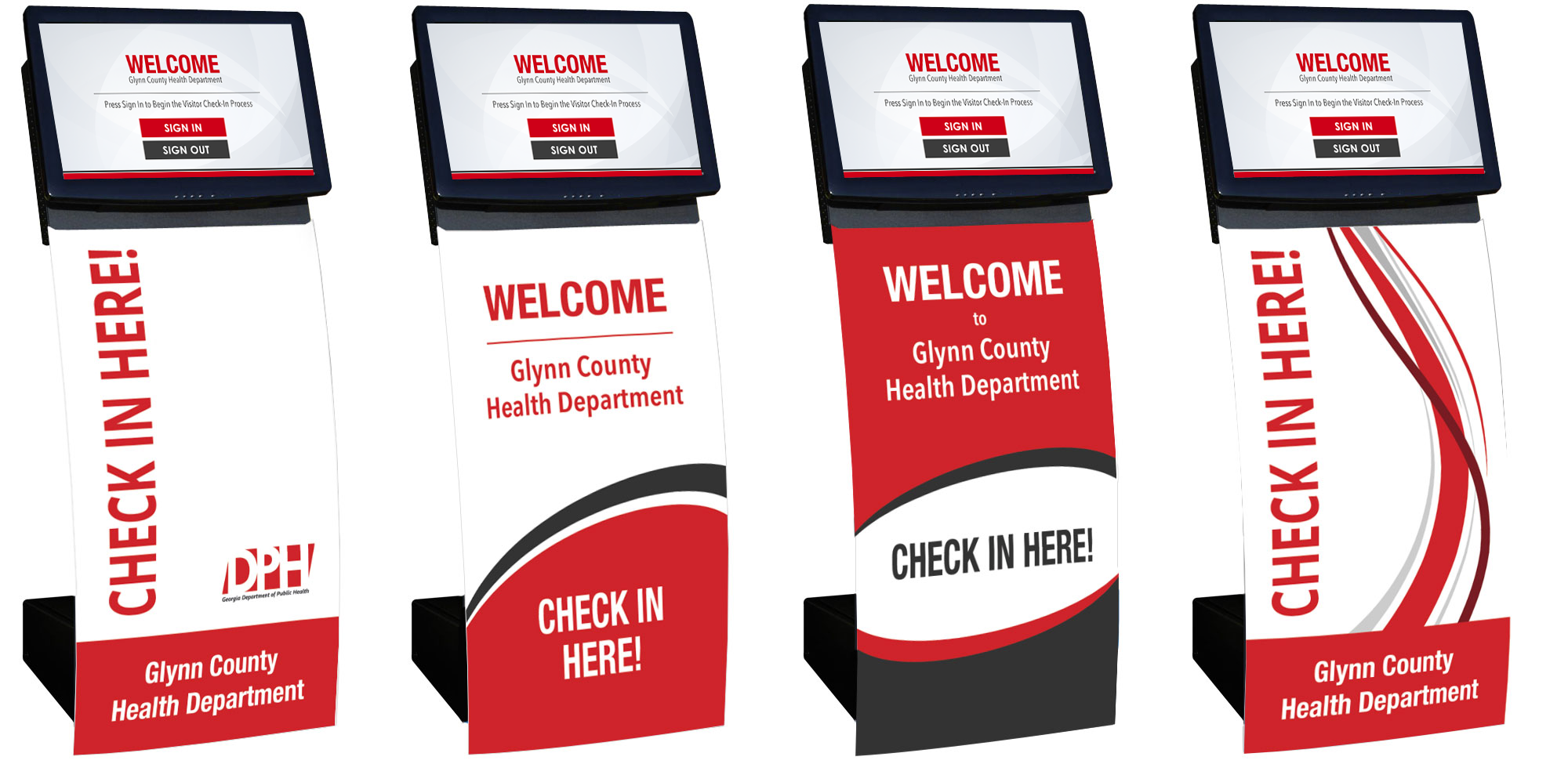 Custom Design Example for Curved Visitor Management Kiosk