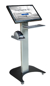 Floor Table Desk And Cubicle Stands Touch Screens In