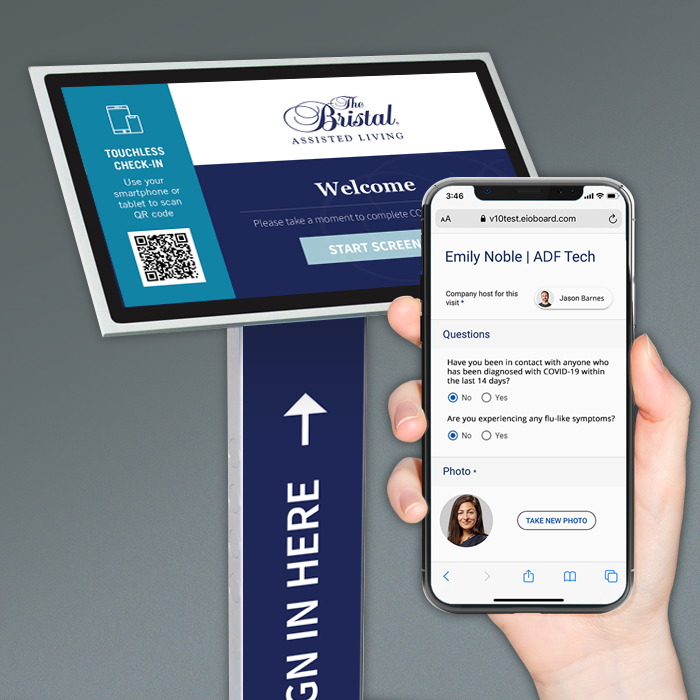 Touchless visitor and staff check-in with QR code